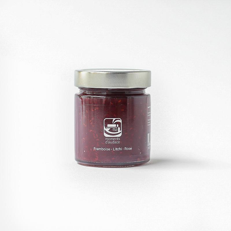 Confiture framboises litchi rose